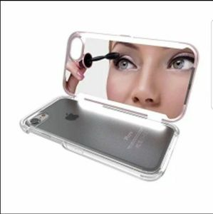Iphone case with mirror and lights in rosegold and